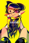 +_+ 1girl aori_(splatoon) artist_name black_footwear black_hair black_jacket character_name commentary cursive domino_mask earrings english_commentary english_text foreshortening grin highres jacket jewelry long_hair looking_at_viewer mask mole mole_under_eye one_eye_closed pointy_ears purple_eyes seto_(asils) shoes signature sitting smile solo splatoon_(series) splatoon_1 tentacle_hair v_arms yellow_background