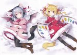 2girls absurdres adapted_costume animal_ear_fluff animal_ears bangs bat_wings black_legwear blonde_hair blue_hair blush boots bow bowtie brown_footwear capelet cat_ears cat_tail coat coat_dress dress earmuffs eyebrows_visible_through_hair fake_animal_ears flandre_scarlet frilled_capelet frills full_body hair_between_eyes hair_ribbon head_tilt high_heel_boots high_heels highres holding huge_filesize looking_at_viewer lying mimi_(mimi_puru) mittens multiple_girls neck_ribbon no_hat no_headwear on_back own_hands_together pantyhose paw_print petticoat pink_capelet pink_coat pink_dress pink_skirt pleated_skirt red_bow red_capelet red_coat red_dress red_eyes red_neckwear red_ribbon red_skirt remilia_scarlet ribbon scan short_hair siblings side_ponytail sisters skirt smile snow snowing tail touhou translation_request wings yellow_neckwear yellow_ribbon
