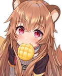 1girl animal_ear_fluff animal_ears bangs blush bread brown_hair commentary dot_nose english_commentary eyebrows_visible_through_hair food food_in_mouth hair_between_eyes hitsukuya long_hair looking_at_viewer melon_bread mouth_hold raccoon_ears raccoon_girl raccoon_tail raphtalia red_eyes simple_background solo tail tate_no_yuusha_no_nariagari white_background