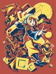 1boy 4girls agent_black blonde_hair boots broken_moon culottes elro_(the_iconoclasts) gun headphones kaigetsudo knee_boots mina_(the_iconoclasts) moon multiple_girls oversized_object partially_colored robin_(the_iconoclasts) samba_de_julho shotgun solo_focus the_iconoclasts weapon wrench