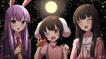 3girls :d \m/ animal_ears arms_up blurry blush bow bowtie bright_pupils brown_hair bunny_ears carrot commentary_request depth_of_field dress eyebrows_visible_through_hair fang forest full_moon hair_between_eyes hands_together head_tilt hime_cut holding houraisan_kaguya inaba_tewi light_particles long_hair long_sleeves looking_at_viewer moon multiple_girls nature necktie night night_sky one_eye_closed open_mouth outdoors pink_dress puffy_short_sleeves puffy_sleeves purple_hair red_eyes red_neckwear reisen_udongein_inaba shirt short_hair short_sleeves sky smile standing suit_jacket touhou tsukimirin upper_body very_long_hair white_neckwear white_pupils white_shirt