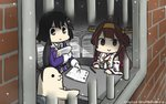 2girls ahoge animalization bars commentary_request dated detached_sleeves double_bun empty_eyes gloves haguro_(kantai_collection) hair_ornament hairband hamu_koutarou headgear highres kantai_collection kongou_(kantai_collection) multiple_girls nontraditional_miko paper_stack pen prison remodel_(kantai_collection) ribbon-trimmed_sleeves ribbon_trim seal shimakaze_(kantai_collection) shimakaze_(seal) smile snowing white_gloves