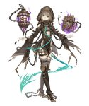 1girl aqua_eyes belt book boots brown_hair cage chain crossed_legs cuffs full_body gretel_(sinoalice) hansel_(sinoalice) head_tilt high_heels jino knee_boots looking_at_viewer official_art shackles sinoalice smile solo thighhighs transparent_background watson_cross