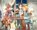 2boys 2girls :o :p blonde_hair brown_hair candle card chair cuffs curtains earrings final_fantasy final_fantasy_ix freija_crescent garnet_til_alexandros_xvii gloves hand_on_own_chin hat highres indoors jewelry lamp long_hair looking_down mare_(pixiv) multiple_boys multiple_girls night one_eye_closed playing_card playing_games short_hair sitting table tail tongue tongue_out vivi_ornitier white_hair window witch_hat zidane_tribal