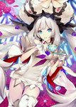 1girl blue_eyes cup fate/grand_order fate_(series) flower gem ginka_sima hat holding holding_cup long_hair looking_at_viewer marie_antoinette_(fate/grand_order) official_art resized silver_hair solo teacup upscaled waifu2x