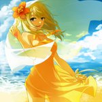 1girl beach blonde_hair brown_eyes cloud dress fairy_tail flower flower_on_head lucy_heartfilia see-through smile strib_und_werde sundress tattoo veil wind wrist_ribbon