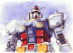 absurdres commentary gundam hector_trunnec highres mecha mobile_suit_gundam no_humans rx-78-2 signature steam traditional_media watercolor_(medium)