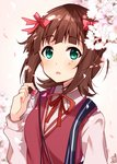 1girl :o amami_haruka bangs blunt_bangs blush bow brown_hair cable cherry_blossoms collared_shirt earbuds earphones eyebrows_visible_through_hair flower green_eyes hair_bow hair_ribbon holding holding_earphone idolmaster idolmaster_(classic) long_sleeves neck_ribbon omuretsu open_mouth parted_lips petals pink_flower red_bow red_neckwear red_ribbon red_vest ribbon school_uniform shirt short_hair sidelocks signature solo spring_(season) sweater_vest upper_body vest white_shirt wing_collar
