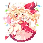 1girl animal_balloon arm_up ascot balloon blonde_hair bloomers blush bow_legwear chibi crystal fang flandre_scarlet full_body hat hat_ribbon looking_at_viewer mob_cap one_eye_closed one_side_up open_mouth paragasu_(parags112) petticoat puffy_short_sleeves puffy_sleeves red_eyes red_ribbon red_skirt red_vest ribbon shirt shoes short_hair short_hair_with_long_locks short_sleeves simple_background skirt skirt_set smile socks solo star touhou underwear upskirt vest white_background white_legwear white_shirt wings wrist_cuffs