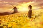1girl backlighting blurry blurry_foreground brown_eyes brown_hair cloud cloudy_sky commentary_request depth_of_field field flower flower_field landscape looking_at_viewer looking_back original rapeseed_blossoms sakeharasu scenery short_hair sky solo standing sunset wide_shot windmill yellow_theme