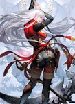 1girl absurdres aoki_kakumei_no_valkyria arm_up ass bangs belt blue_hair boots breasts brown_footwear brown_legwear brunhild_(valkyria) cleavage detached_sleeves full_body gun highres holding holding_weapon large_breasts long_hair looking_at_viewer looking_back official_art pants red_eyes scan scythe senjou_no_valkyria solo standing sword takayama_toshiaki thigh_boots thighhighs thighs weapon