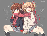 2girls beige_sweater blonde_hair bow brown_hair closed_eyes grey_background grey_skirt kamikita_komari little_busters! long_hair mauve multiple_girls natsume_rin open_mouth pink_bow plaid plaid_skirt pleated_skirt ponytail red_eyes red_scarf scarf school_uniform shared_scarf short_hair simple_background sitting skirt smile twintails