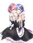 2girls apron asymmetrical_docking blue_eyes blue_hair breast_press breasts cheek-to-cheek cleavage detached_sleeves frills hair_ornament hair_over_one_eye highres holding_hands maid maid_apron multiple_girls pink_eyes pink_hair ram_(re:zero) re:zero_kara_hajimeru_isekai_seikatsu rem_(re:zero) ribbon siblings thighs twins white_background white_legwear white_ribbon wide_sleeves x_hair_ornament y.i._(lave2217)