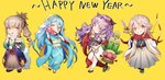 2018 2boys 2girls aqua_(fire_emblem_if) bamboo bow_(weapon) camilla_(fire_emblem_if) cape chibi fire_emblem fire_emblem_heroes fire_emblem_if food hairband japanese_clothes kimono long_hair looking_at_viewer male_my_unit_(fire_emblem_if) mamkute mochi multiple_boys multiple_girls my_unit_(fire_emblem_if) new_year obi pointy_ears ponytail sash simple_background smile takumi_(fire_emblem_if) wagashi weapon white_background white_hair zuizi