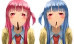 2girls bangs blue_hair blush cardigan collared_shirt food food_in_mouth incoming_pocky_kiss kotonoha_akane kotonoha_aoi kurione_(zassou) looking_at_viewer mouth_hold multiple_girls necktie one_side_up pink_hair pocky red_eyes red_neckwear shirt siblings simple_background sisters straight_hair upper_body voiceroid white_background white_shirt yellow_cardigan