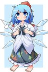 1girl blue_eyes blue_hair blush cirno commentary_request cosplay hat ice ice_wings oversized_clothes peku_(science_santa-san) pom_pom_(clothes) shameimaru_aya shameimaru_aya_(cosplay) short_hair skirt smile solo tokin_hat touhou wings