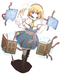 1girl 7stride alice_margatroid ascot bad_id bad_pixiv_id blonde_hair book boots brooch brown_eyes dress full_body hairband highres jewelry keyhole magic_circle open_book short_hair simple_background skirt skirt_set solo standing touhou white_background wooden_figure