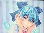 1girl blue_eyes blue_hair bow cirno hair_bow hands_on_own_cheeks hands_on_own_face head_tilt ice ice_wings light_smile lips photo portrait short_hair solo striped striped_background touhou traditional_media watercolor_(medium) wings yuyu_(00365676)