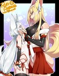 2girls agawa_ryou animal_ears ass black_legwear blonde_hair blue_eyes blush borrowed_character breasts bridal_gauntlets commentary curvy eye_contact fangs fox_ears hands_on_another's_face japanese_clothes kitsune large_breasts light_blush long_hair looking_at_another low-tied_long_hair multiple_girls original rape_face small_breasts smile thighhighs very_long_hair yellow_eyes yuri