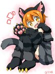 1girl animal_costume animal_ears blush cat_costume cat_ears cat_tail eromame fang gloves hoshizora_rin knees_on_chest love_live!_school_idol_project orange_hair paw_gloves paw_shoes shoes short_hair solo tail yellow_eyes
