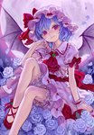 1girl ama-tou bat_wings bloomers blue_hair brooch cross-laced_footwear dress flower full_moon hat hat_ribbon jewelry looking_at_viewer moon nail_polish no_socks pink_dress pink_eyes puffy_sleeves red_eyes remilia_scarlet ribbon rose sash short_sleeves smile solo touhou underwear white_rose wings wrist_cuffs