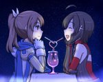 2girls ahoge armor black_armor black_hair blush brown_eyes brown_hair caracol chin_rest closed_eyes commentary crazy_straw cup drinking_straw elbows_on_table glass gloves hair_ornament hair_ribbon hands_on_own_face heart_straw itai_no_wa_iya_nano_de_bougyoryoku_ni_kyokufuri_shitai_to_omoimasu long_hair looking_at_another maple_(itai_no_wa_iya_nano_de_bougyoryoku_ni_kyokufuri_shitai_to_omoimasu) multiple_girls night night_sky open_mouth outdoors ponytail ribbon sally_(itai_no_wa_iya_nano_de_bougyoryoku_ni_kyokufuri_shitai_to_omoimasu) scarf short_hair sky smile sparkle star_(sky) starry_sky table tablecloth upper_body vambraces yuri