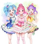3girls :d absurdres bangs blue_dress blue_eyes blue_hair blunt_bangs bow bowtie bracelet closed_mouth curly_hair detached_sleeves dress drill_hair eyebrows_visible_through_hair flower frilled_skirt frills gloves green_eyes green_footwear hair_bow hand_up hat highres jewelry looking_at_viewer midriff mini_hat multiple_girls ohisashiburi open_mouth over-kneehighs pink_bow pink_eyes pink_hair purple_hair red_bow red_neckwear sailor_collar school_uniform serafuku shining_star shirt shoes short_hair short_sleeves skirt skirt_hold smile socks standing standing_on_one_leg thighhighs tiara tilted_headwear twin_drills v w white_flower white_gloves white_legwear yellow_bow yellow_shirt yellow_skirt