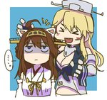 ... 2girls :d >_< ahoge animal_ears betchan blonde_hair breasts brown_hair cat_ears cleavage commentary_request detached_sleeves eyebrows_behind_hair eyebrows_visible_through_hair fake_animal_ears gloves hat iowa_(kantai_collection) kantai_collection kongou_(kantai_collection) long_hair multiple_girls open_mouth shaded_face smile spoken_ellipsis upper_body