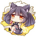1girl animal_ear_fluff animal_ears black_hair black_kimono blush borrowed_character brown_eyes can chibi closed_mouth commentary_request detached_sleeves fox_ears fox_girl fox_tail hair_tie holding holding_can japanese_clothes kimono long_hair long_sleeves obi original sash shachoo. short_kimono sidelocks sleeveless sleeveless_kimono smile solo tail twintails white_background wide_sleeves