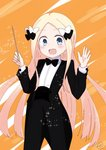 1girl :d abigail_williams_(fate/grand_order) bangs baton_(instrument) black_bow black_jacket black_neckwear black_pants blonde_hair blue_eyes blush bow bowtie collared_shirt commentary_request conductor cowboy_shot eyebrows_visible_through_hair fate/grand_order fate_(series) forehead formal hair_bow hands_up highres holding jacket kujou_karasuma long_hair long_sleeves looking_at_viewer open_clothes open_jacket open_mouth orange_background pant_suit pants parted_bangs shirt signature smile solo sparkle suit tailcoat tuxedo very_long_hair white_bow white_shirt