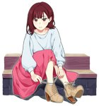 1girl bangs boots brown_eyes brown_footwear brown_hair chu_kai_man commentary_request cross-laced_footwear full_body furihata_ai high_heel_boots high_heels long_skirt long_sleeves looking_at_viewer outline parted_lips pink_skirt real_life red_hair seiyuu shirt shoes sitting sitting_on_stairs skirt solo stairs transparent_background tying_shoes white_outline white_shirt