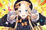1girl abigail_williams_(fate/grand_order) bangs black_bow black_dress black_headwear blonde_hair blue_eyes blush bow breasts double_v dress emotional_engine_-_full_drive fate/grand_order fate_(series) forehead hair_bow hews_hack long_hair long_sleeves looking_at_viewer multiple_bows open_mouth orange_bow parted_bangs polka_dot polka_dot_bow smile solo v