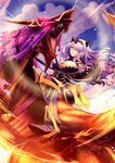 1girl 1other armor armored_boots armored_dress boots breasts camilla_(fire_emblem_if) cleavage cloud cloudy_sky dragon fire_emblem fire_emblem_if full_body gauntlets glowing glowing_eyes hair_over_one_eye helm helmet horned_headwear large_breasts lavender_hair long_hair looking_at_viewer panda_lee purple_eyes red_eyes reins riding roaring sky smile stirrups wyvern