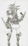 1girl amputee android blue_eyes commentary_request creepy flat_gaze kantai_collection maya_(kantai_collection) mecha_musume mechanical_arm mechanical_parts mechanization megrim_haruyo monochrome prosthesis robot_joints sailor_dress solo
