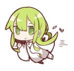:> androgynous enkidu_(fate/strange_fake) fate/strange_fake fate_(series) feathers flying full_body green_eyes green_hair long_hair looking_at_viewer nuu_(nu-nyu) simple_background solo waving white_background white_robe
