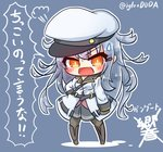 asimo953 belt black_legwear blue_background blush boots check_translation chibi commentary_request eyebrows_visible_through_hair fang gangut_(kantai_collection) grey_hair hair_ornament hairclip hat highres kantai_collection long_hair military military_jacket military_uniform miniskirt naval_uniform open_mouth orange_eyes pantyhose peaked_cap red_shirt shirt simple_background skirt speech_bubble translation_request uniform