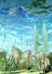 2boys building city cloak copyright_request flying highres landscape multiple_boys oropi ruins scenery sitting surreal tombstone whale