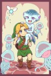 1boy 1girl blue_eyes blue_skin blush carrying commentary_request fairy fang fish_girl highres link looking_at_another monster_girl navi nazonazo_(nazonazot) pointy_ears princess_ruto purple_eyes shoulder_carry smile the_legend_of_zelda the_legend_of_zelda:_ocarina_of_time young_link zora