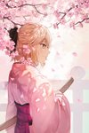 1girl absurdres ahoge backlighting bangs black_ribbon blonde_hair cherry_blossoms commentary falling_petals fate_(series) from_side hair_ribbon hakama half_updo highres holding holding_sword holding_weapon japanese_clothes katana kimono koha-ace light_smile looking_to_the_side okita_souji_(fate) okita_souji_(fate)_(all) oretsuu ribbon sheath sheathed sidelocks solo sword twitter_username weapon yellow_eyes