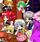 6+girls :> :o alternate_hairstyle apron baking bat bat_wings batman batman_(series) blonde_hair blue_eyes blue_hair blush_stickers bowl braid brooch carrying clock engrish fairy_maid fairy_wings fang flandre_scarlet flying food fruit full_moon grapes green_hair hand_on_own_face handsome_wataru hong_meiling indoors izayoi_sakuya jewelry kitchen kitchen_scale logo long_hair maid_headdress milk_carton mob_cap moon multiple_girls night no_hat open_mouth patchouli_knowledge puffy_short_sleeves puffy_sleeves purple_hair ranguage red_eyes red_hair remilia_scarlet salt short_hair short_sleeves silver_hair smile spoon tenga tongue tongue_out touhou towel twin_braids typo window wings |_|