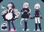 3girls ahoge alternate_costume apron arm_belt bandaged_arm bandages beret black_bow black_dress bow braid capelet commentary_request doll_joints dress elbow_gloves enmaided facial_scar fate/apocrypha fate/extra fate/grand_order fate_(series) frills gloves gothic_lolita hat headpiece highres jack_the_ripper_(fate/apocrypha) jeanne_d'arc_(fate)_(all) jeanne_d'arc_alter_santa_lily lolita_fashion maid maid_apron mochizuki_kei multiple_girls nursery_rhyme_(fate/extra) puffy_sleeves scar scar_across_eye scar_on_cheek shoulder_tattoo silver_hair striped striped_bow tattoo twin_braids waist_apron yellow_eyes younger