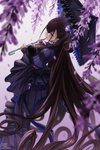 1girl absurdly_long_hair absurdres black_dress black_umbrella blurry blurry_background brown_hair dress fate/grand_order fate_(series) floating_hair flower hair_between_eyes highres holding holding_umbrella long_dress long_hair looking_at_viewer mr.holmes murasaki_shikibu_(fate) petals purple_eyes solo standing striped umbrella vertical-striped_dress vertical_stripes very_long_hair watermark wisteria