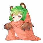 1girl =_= animal_ear_fluff animal_ears animare bangs bear_ears bear_hair_ornament bear_paws blanket blush brown_gloves chibi closed_eyes full_body gloves green_hair hair_ornament hairclip hinokuma_ran kokka_han open_mouth paw_gloves paws short_hair simple_background solo sweatdrop triangle_mouth virtual_youtuber white_background