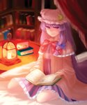 1girl book book_stack bookshelf candle capelet crescent_hair_ornament double_bun dress faux_traditional_media hair_ornament hair_ribbon highres lantern light_smile lips long_hair looking_at_viewer mob_cap open_book patchouli_knowledge purple_eyes purple_hair ribbon robe sa_haru sitting solo striped striped_dress touhou tress_ribbon wariza