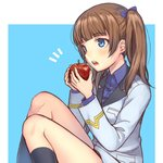 1girl apple bangs black_legwear blue_background blue_bow blue_eyes blue_shirt blunt_bangs bow brave_witches brown_hair commentary dress_shirt eating eyebrows_visible_through_hair food fruit georgette_lemare hair_bow holding holding_food holding_fruit jacket light_blush long_sleeves medium_hair military military_uniform no_pants notice_lines open_mouth outside_border shirt sitting socks solo totonii_(totogoya) twintails uniform white_jacket wing_collar world_witches_series