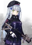 1girl assault_rifle bangs beret blunt_bangs blush breasts clothes_writing commentary_request eyebrows_visible_through_hair facial_mark girls_frontline gloves green_eyes gun hair_ornament hat heckler_&_koch hk416 hk416_(girls_frontline) holding holding_gun holding_weapon iron_cross long_hair looking_at_viewer medium_breasts military military_uniform nagishiro_mito open_mouth parted_lips rifle sidelocks silver_hair skirt snow snowing solo standing teardrop trigger_discipline uniform weapon white_gloves wind