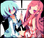anemone_(eureka_seven) aqua_hair dangomushi dress eureka eureka_seven eureka_seven_(series) hair_ornament hairclip long_hair multiple_girls purple_eyes short_hair