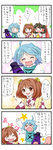0_0 3girls 4koma :d :i >_< ^_^ ahoge apron ascot bell blush bow closed_eyes comic commentary detached_sleeves hair_bow hair_ornament hair_ribbon hair_tubes hakurei_reimu heterochromia japanese_clothes karakasa_obake motoori_kosuzu multiple_girls open_mouth pout ribbon short_hair smile star starry_background tatara_kogasa tearing_up tears touhou translated umbrella yuzuna99 |_|