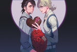 2boys barnaby_brooks_jr beard black_hair blonde_hair bouquet facial_hair flower jacket kaburagi_t_kotetsu male_focus multiple_boys naked_cat suspenders tiger_&_bunny valentine