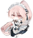 apron bangs black_ribbon black_skirt breasts chibi closed_mouth collared_shirt commentary_request cup dress_shirt eyebrows_visible_through_hair frilled_apron frills full_body girls_frontline hair_between_eyes high_ponytail holding holding_cup juliet_sleeves kotatu_(akaki01aoki00) long_hair long_sleeves looking_at_viewer maid maid_headdress neck_ribbon ntw-20_(girls_frontline) pantyhose pink_hair ponytail puffy_sleeves red_eyes ribbon shaded_face shirt simple_background skirt small_breasts very_long_hair waist_apron white_apron white_background white_legwear white_shirt